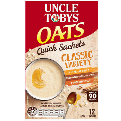UNCLE TOBY VARIETY OATS BREAKFAST FOOD MEAL SACHETS CLASSIC VARIETY INSTANT 420g