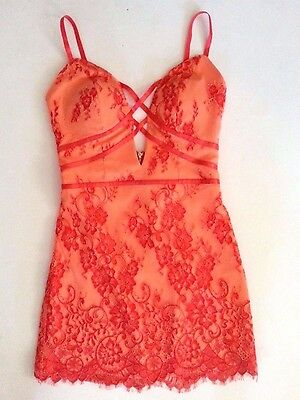 NWT bebe coral lace all over low back cross front straps dress top XS size 2