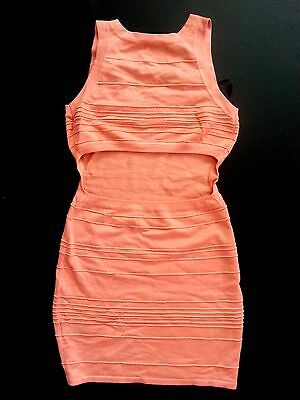 NWT bebe coral open cutout back bodycon sweater party top dress L 10 large club