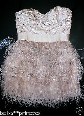 NWT bebe isis L large 10 lace feather top skirt dress strapless nude beige pink