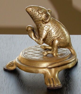 """Solid Brass Mouse / Rat 2 3/4"""" Figurine on 1 1/4"""" brass stand (all one piece)"""