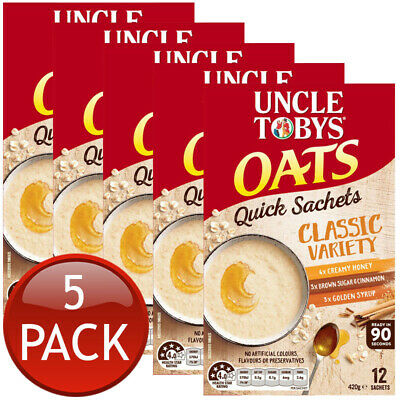6 x UNCLE TOBY VARIETY OATS BREAKFAST FOOD MEAL SACHETS CLASSIC VARIETY INSTANT