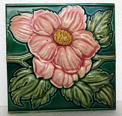 Antique Majolica Tile Flower High Embossed Vintage Decorative  Collectibles #2