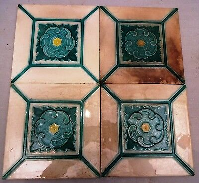 ANTIQUE TILE DANTO KAISHA JAPAN VINTAGE CERAMIC PORCELAIN COLLECTIBLES 4 Pc SET