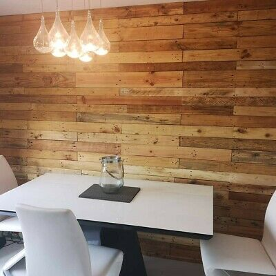 Wall cladding reclaimed planks sanded no nails rustic industrial looking interio
