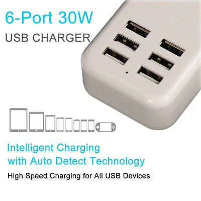 6-Port USB Desktop Multi-Devices Quick Charging Wall Charger Station Hub Adapter