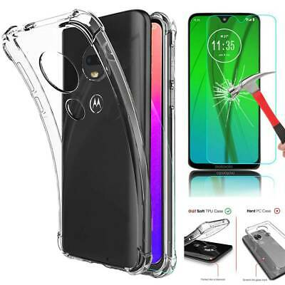 For Motorola Moto G7 Plus Shockproof Clear Case+ Tempered Glass Screen Protector