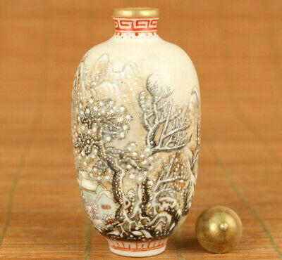 Rare chinese old porcelain hand painting landscape snow statue snuff bottle gift
