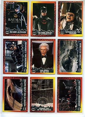 Batman Returns Movie - Complete 88 Card Base + 10 Sticker Set - Topps - 1992