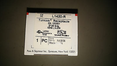 P&S L1420-R 20A 125/250 3P 4W Twist Lock Receptacle See Pics #A89