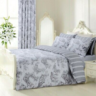 Grey White French Toile Striped Reversible Single Duvet Cover