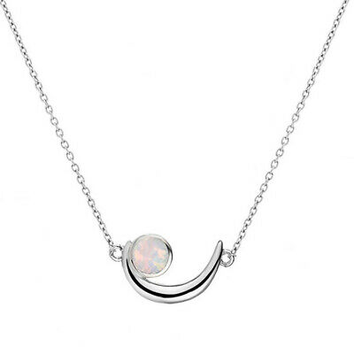 925 Silver/18K Rose Gold Moon Blue/White Fire Opal Necklace Pendant Jewelry