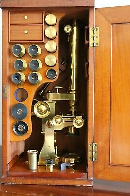 LATE 19th C  LARGE ANTIQUE BRASS BINOCULAR MICROSCOPE OUTFIT, similar ROSS etc