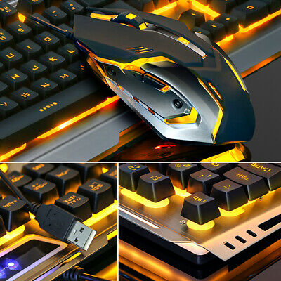 Gaming Keyboard and Mouse SET With Orange LED Backlit Wired USB Keyboard Mouse