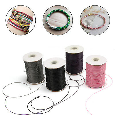 10M WAXED Cotton Cord Thread 1mm or 1.5mm Jewellery Making Bracelet DIY Color