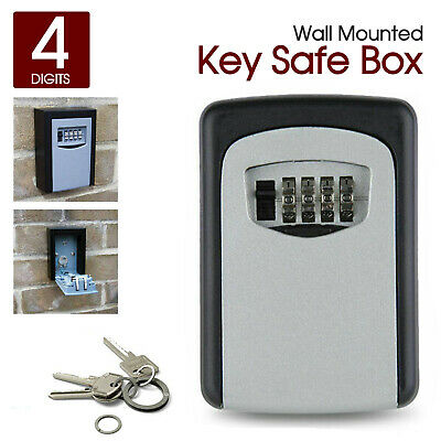 High Security Outdoor Wall Mounted Key Safe Box Lock Combination Storage Gray