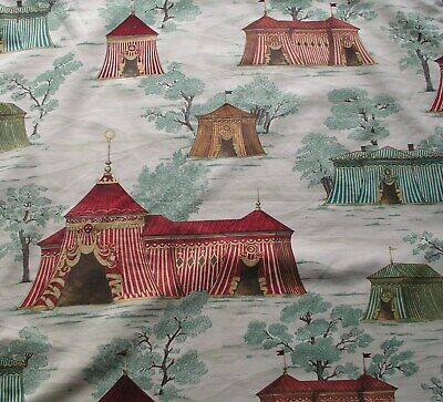 Vintage printed cotton fabric gorgeous pictorial design of pavillions in trees