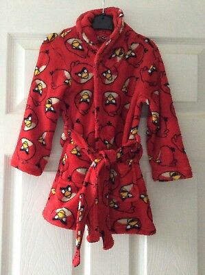 2-3 Years Red Angry Birds Robe Dressing Gown Boys Kids Soft Warm Velcro Fasten