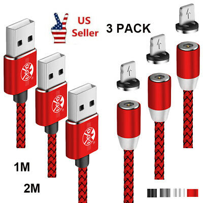 1m 2m 3 Pack Fast Magnetic Charger Adapter Micro USB Charging Cable For iPhone