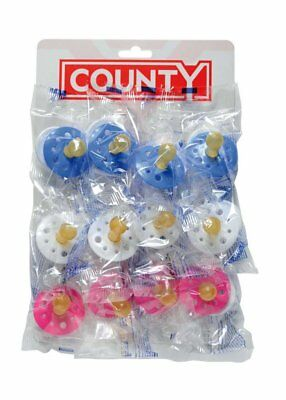 12 x County Baby Soothers Dummies Pacifiers Latex Cherry BS EN1400  - 3 Colours