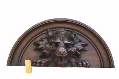 Victorian Hand Carved Wood Pediment with Large Lion Head