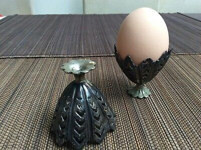 Pair of Antique silver alloy Ottoman Zarf egg cups 19th century