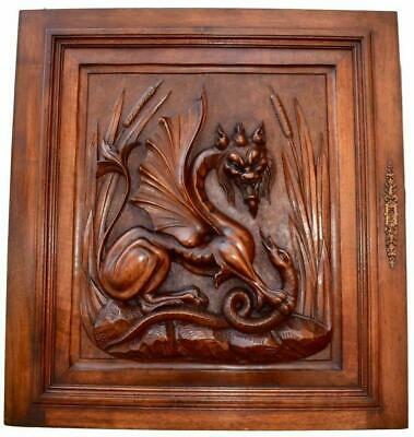 French Carved Wood Neo-Gothic Griffin Cabinet Door with Dragon Against Snake