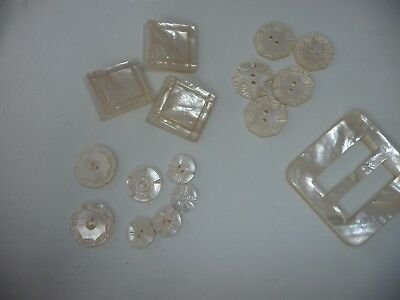 #1/4/2 vtg MIXED  LOT of  15 Sewing Buttons + 1 BELT BUCKLE MOP  mother of pearl