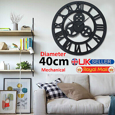 Skeleton Garden Wall Clock Big Roman Numerals Large Open Face Metal 40Cm Round