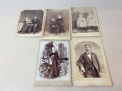 Lot of 5  Antique Cabinet Card Photos From San Francisco, Kelso Washington Plus