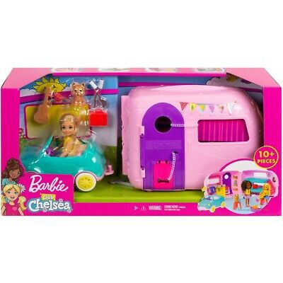 NEW Barbie Club Chelsea Doll and Camper Vehicle Playset 10+ Pcs Birthday Gift