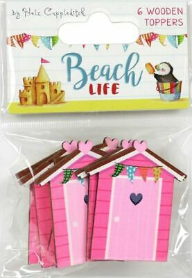 TRIMCRAFT Helz Cuppleditch BEACH HUT Wooden Toppers ~ BEACH LIFE (6 Pieces)