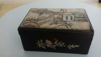 Small Chinese Vintage Wood and Mother of Pearl  Box has had Repair!