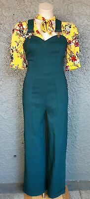 Bib and brace Overalls in Green, 'Lenani' by Voodoo Vixen.