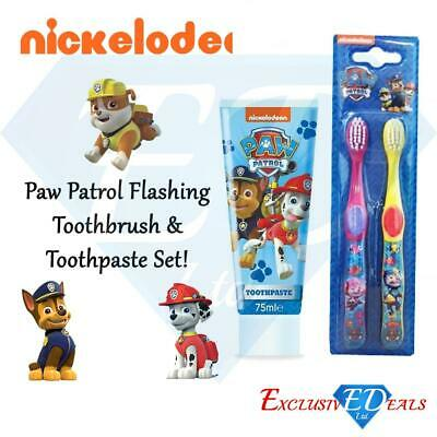 Paw Patrol Toothbrush 2 Pack & Toothpaste 75ml Nickelodeon Red & Yellow
