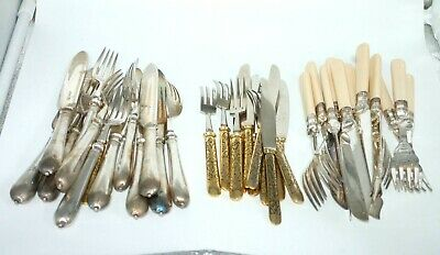 Collection Of Antique Silver Plated Cutlery / Fish & Dessert