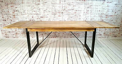 Extendable Rustic Hardwood Industrial Dining Table - Seats up to Twelve People