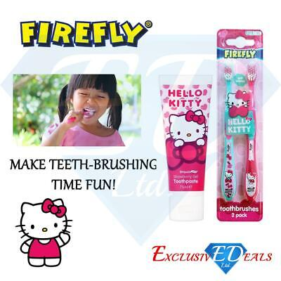 Hello Kitty Toothbrush 2 Pack Toothpaste 75ml Pink & Blue Childrens Gift