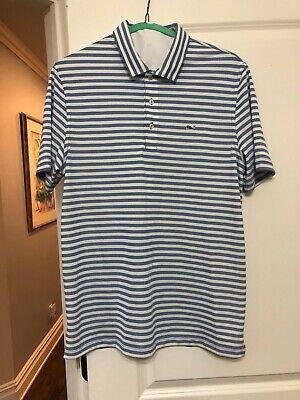 fbdd36deeb9b45 Vineyard Vines Lake Stripe Pique Polo-Size Medium-Color Thistle (grey/blue