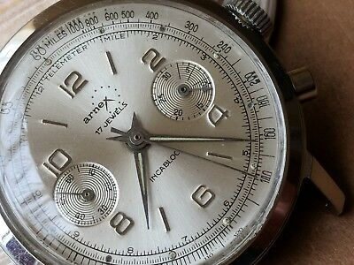 Vintage Arnex Two-Register Chronograph w/Silver Satin Dial,Divers All SS Case