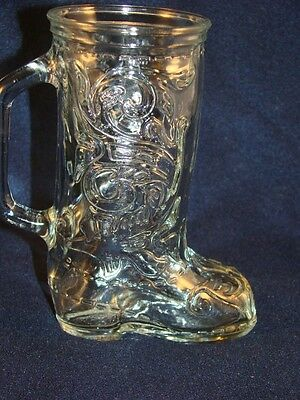 Western Cowboy Boot Beer Mug holds 12 Ounces 6 inch Clear Glass  @18