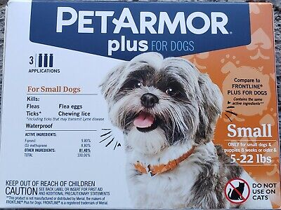 Pet Armor Plus For Dogs and Puppies 4-22lbs Flea & Tick Treatment 3 applications