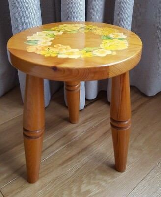 Vintage Arts & Crafts Three Legged Pine Milking Stool - Floral Decoupage on Seat