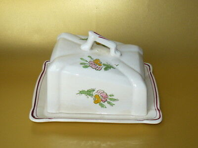 Vintage Traditional Wedge Shape Floral Hand Painted Butter or Cheese Dish