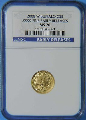 2008 W American 1/10 oz 9999 Fine Gold $5 Buffalo Early Releases NGC Graded MS70