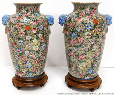 Pair Antique Signed Chinese Qing Qianlong Mark Famille Rose Porcelain Vases