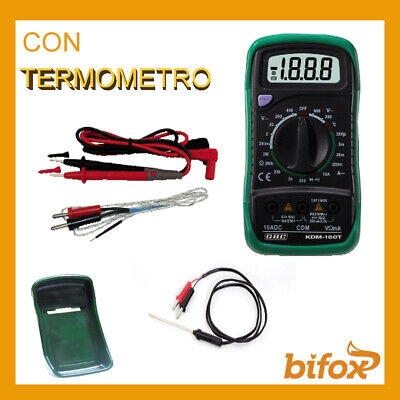 Tester Multimetro Digitale Professionale Con Termometro Ohm Ampere Display Lcd