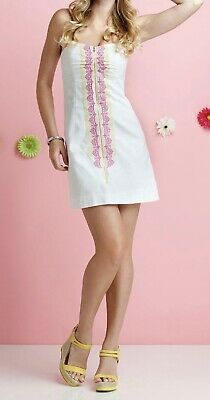 93d12d84f7  228 Lilly Pulitzer Sz 10 Strapless White Embroidered Cotton Spring Shift  Dress
