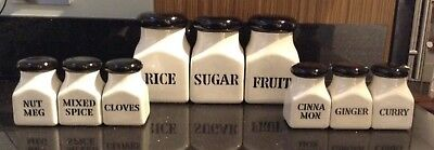 Vintage Derek Fowler Studio Pottery Kitchen Spice Fruit Rice Sugar Storage Jars