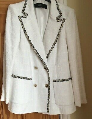 68a85172 ZARA LADIES WHITE Double Breasted Chanel Style Jacket Size Large ...